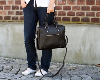Everyday Black Vegan Leather Bag / Faux Leather / Convertible Bag