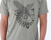 Hawk tee shirt I'o - black print on American Apparel shirt. Solar system orbits of planets and moon shirt. Astronomy tee. Triangle geometry.