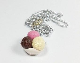 Miniature Neopolitan Ice-Cream Necklace
