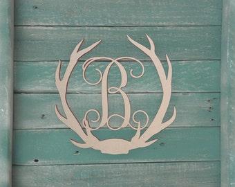 Unfinished Wooden Deer Antler Monogram Letter for Wall Decor or Door Hanger