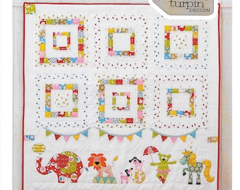 Pattern ''Animal Circus'' Applique Quilt, Wall Hanging Applique Pattern by Claire Turpin (CT107)