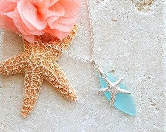 Starfish Necklace, Sea Glass Necklace, Beach Jewelry, Nautical Jewelry