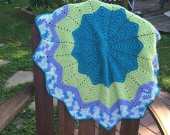 Blue grey round baby blanket crochet handmade striped blanket baby boy afghan green and blue blanket nursery, crib, crocheted lapghan, lovey