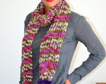 Hand Knitted Scarf/ Knitted Girls scarf/ Winter Fashion Scarf/ Gift idea/ Knit Winter scarf/ Knit Pom Pom Scarf/ Purple Pom Pom Scarf