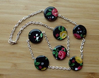 Mother of Pearl Printed Coin Necklace