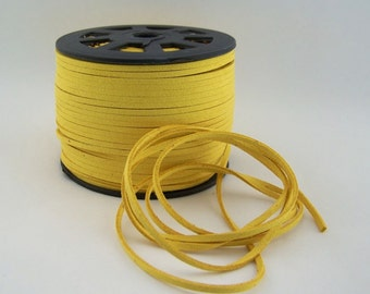 Yellow Faux Suede Cord 20 Feet USA Seller