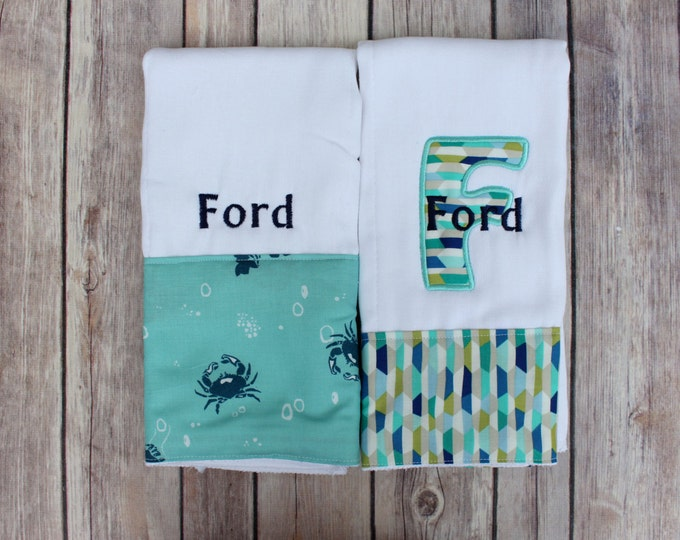 Monogrammed Boy Burp Cloth Set, Crab Burp Cloth, Nautical Nursery, Monogrammed Burp Cloth Set, Personalized Boy Gift Set, Nautical Baby Gift