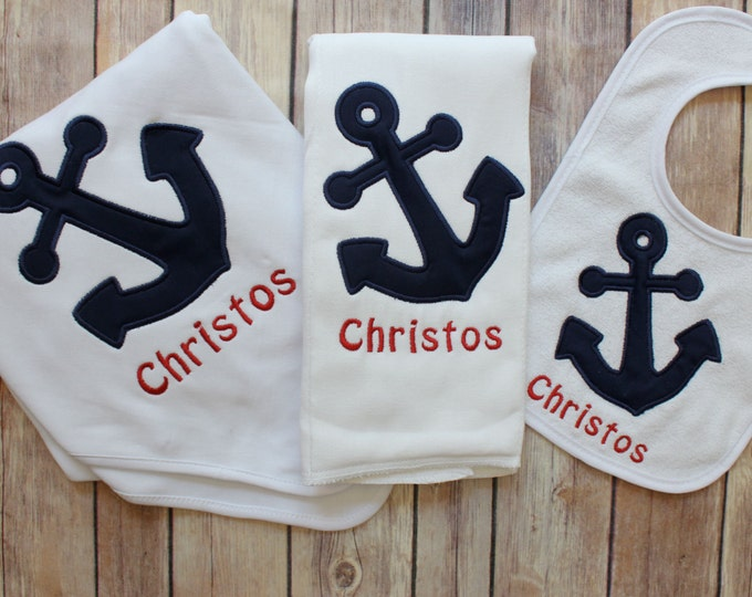 Anchor Gift Set, Baby Boy Gift, Personalized Baby Gift, Monogrammed Boy, Nautical Baby Gift, Nautical Nursery, Anchor Blanket, Burp Cloth