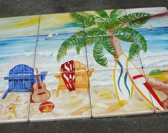 Mural, Ready to ship hand painted beach porcelain mural, Outdoor and Indoor tile mural, Tropical, Backsplash mural, Nautical mural