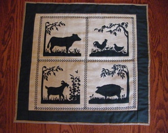 Hand Made Hand Quilted Wall Hanging Table Topper Runner Folk Art Rustic Primitive Farm Animals