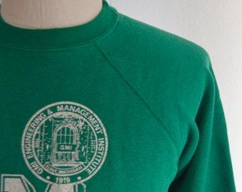 Vintage 1980s Champion Label Green Sweatshirt Size Small