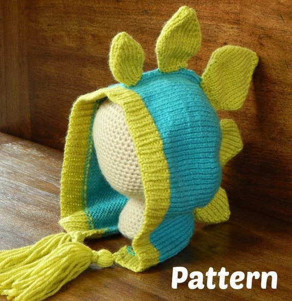 Dinosaur Knit Hat Pattern : Knit Dinosaur Hat - Stegosaurus Pattern : Knitting Pattern, Knit Toddler Hat,...