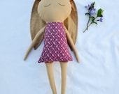 Nut-brown Bunny Doll, cotton bunny doll with purple floral dress, READY TO SHIP