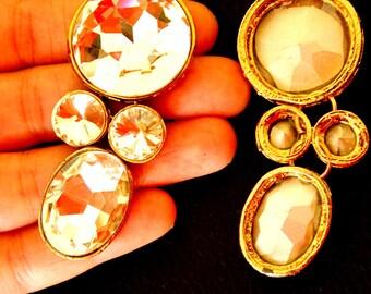 1 x Crystal Applique, Crystal Cabochon, Gold Applique - 140316A5