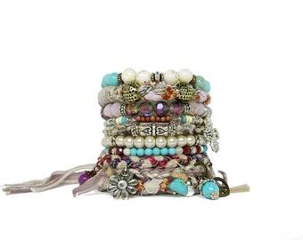 Shabby Chic Wedding Bracelet Hippie Cross Bracelet Stack Gypsy Soul Ivory Boho Gypsy Bangles Christian Bracelet