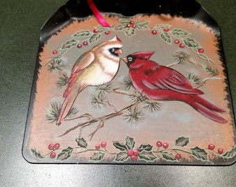 Cardinal Birds on Black Shovel with Greenery and Ribbon - Hand Painted Wall Hanging - Door & Cardinal door hanger | Etsy Pezcame.Com