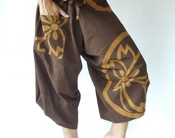 SR0010 Brown samurai pants with Unique Indigo fabric Wrap Around