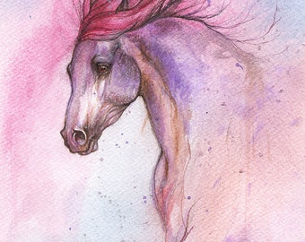 Original watercolor painting of a horse