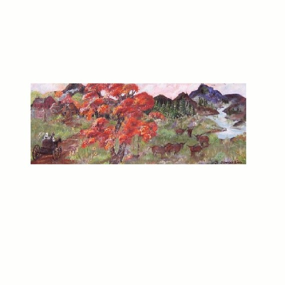 """11 X 30 Giclee Print   """" Coming Home""""  from an original painting by Joyce Lee"""