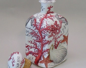 Handmade Decoupage Glass Decorative Bottle, Red Coral, Shells, Starfish, Beach Decor, Home Decor