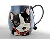 Boston Terrier Mug, pottery mug, great Christmas Day gift, contact me for custom markings, approx 13 oz, dishwasher,microwave safe