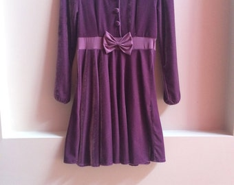 Velvet Purple Bow Dress