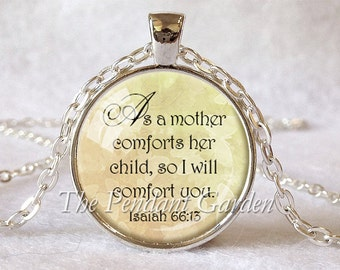 ISAIAH 66:13 SCRIPTURE PENDANT Bible Scripture Jewelry Comfort Encouragement Hope Judaica Jewish Gift Christian Gift for Christian Jewelry