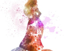 Rapunzel inspired ART PRINT illustration, Disney, Tangled, Princess, Wall Art, Home Decor