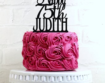 Happy 75th Birthday Cake Topper Personalized with Name and Age