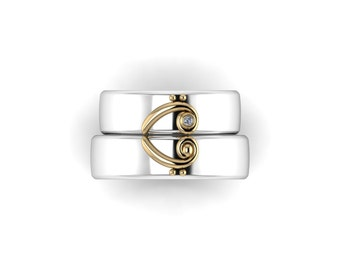 Duet Wedding Band Set in your choice of metals!