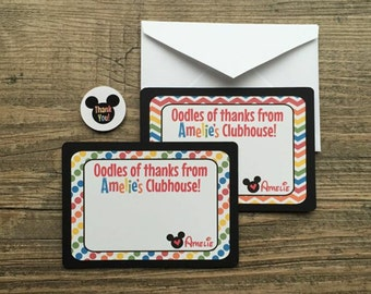 Mickey Mouse Clubhouse Thank You Cards with Envelopes & Sticker Seals - 3x5 PERSONALIZED - Rainbow/Colorful - Birthday, Shower - Set of 12