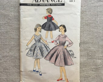 Sale- 1950s- Girl's Jumper & Blouse- Size 4- Advance Sewing Pattern 8102