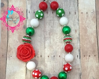 Christmas  Necklace-Christmas Necklace- Santa Chunky Necklace- Girls Christmas Necklace-Christmas Bubblegum Necklace
