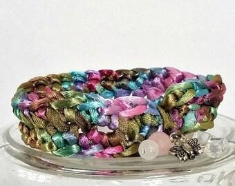 Pink Bracelet, Multi color Bracelet, Crochet Bracelet, Bohemian Bracelet, Silk Bracelet, Gemstone Charm, Butterfly Charm, Silk Bangle,