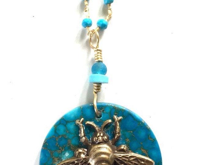 Bee, Honey bee, bee necklace, nature jewels, Big brass bee, blue variscite coin bead, heart chakra healing, apis, buzz,