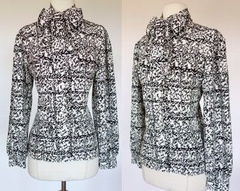 1980s ascot blouse, black and white print, long sleeve top, SK & company, medium
