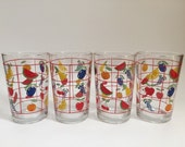Set of 4 Vintage KIG Indonesia Colorful Juice Glasses-Fruit Design