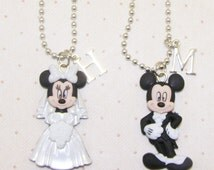 Bride And Groom Mickey Or Minnie Mouse Necklace With Initials, Minnie Mouse Flower Girl Necklace, Mickey Mouse Ring Bearer Necklace Gift