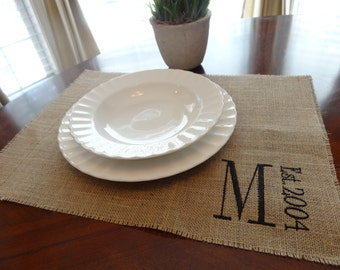 Initial monogram EMBROIDERED burlap placemats - set of 4
