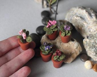 Miniature artificial light pink Violet. Crochet potted plant . Crocheted miniature flower violet. Dollhouse miniature. Green, brown, pink