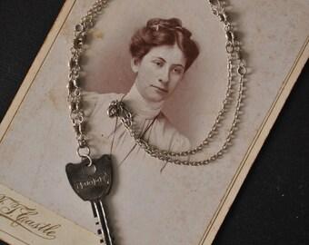 Vintage Key Silver Bead Necklace