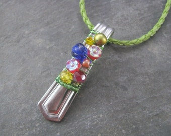 Spoon Necklace; The Seasons; Wire Wrapped and Beaded; Up Cycle