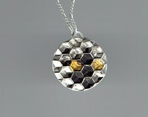Honeycomb Pendant, Silver with 24k Gold Inlay, Beehive Necklace, Hexagons in Circle, Honeycomb Necklace, Sacred Geometry, Bee Hive Jewelry