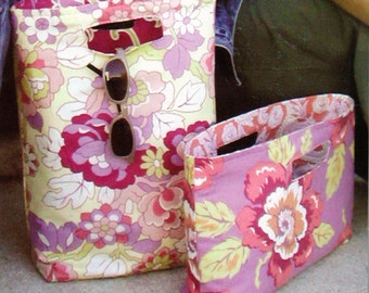 """Amy Butler Chelsea Bags Pattern, Large Reversible Tote and Handbag Pattern, 12"""" Wide  by 15"""" Tall Tote Bag, 15"""" Wide by 8 """" Tall Handbag"""