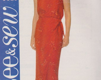 See and Sew 5619, Misses Size 12,14,16, Tank Top and Wrap Skirt Pattern, Pullover Tank Top, Skirt Ties at Right Side, Left Side Pleated