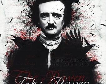 Edgar Allan Poe,Poe artwork,Poe print,The raven,Gothic print,Gothic art,Poe wall decor,Raven art,Raven print,crow print,crow art,poet art