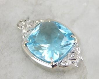 The Perfect Antique Bridal Piece, Blue Topaz and Diamond Pendant 5RW9NU-N