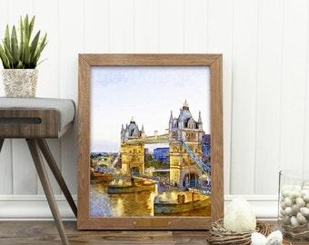 London Bridge Watercolor Fine Art Print, British Home Decor, United Kingdom, Great Britain, Landscape Watercolor,  English Cottage Wall Art