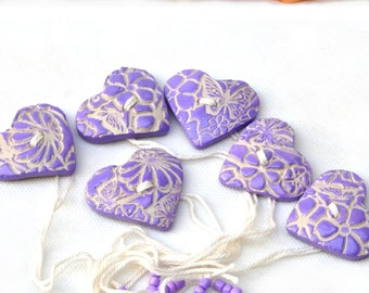 Wedding Napkin Ring - Set of 6 Ceramic Lilac Heart Shaped napkin holders, Holiday gift, Hostess gift, Nr005