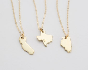 State Charm Necklace, Dainty Custom State Necklace -  Gold Necklace, Sterling Silver Necklace, or Rose Gold Fill Necklace  LN346